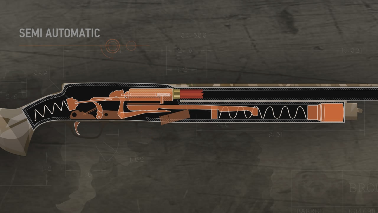 Illustration of the inside of a semi-automatic action shotgun being loaded.