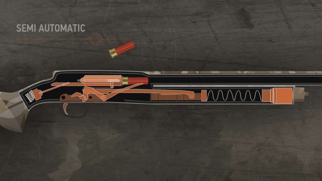 Illustration of the inside of a loaded semi-automatic action shotgun and an ejected spent cartridge.