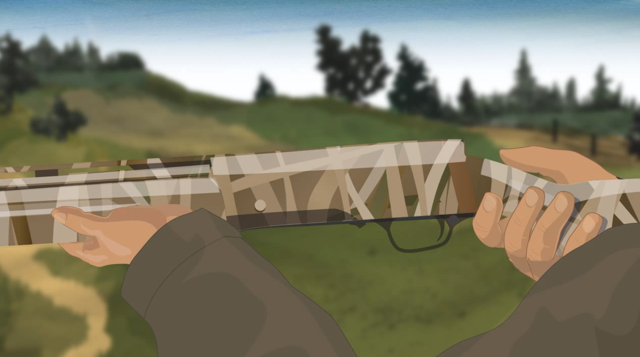 Illustration of a hunter's hands keeping off of a semi-automatic action shotgun's trigger.