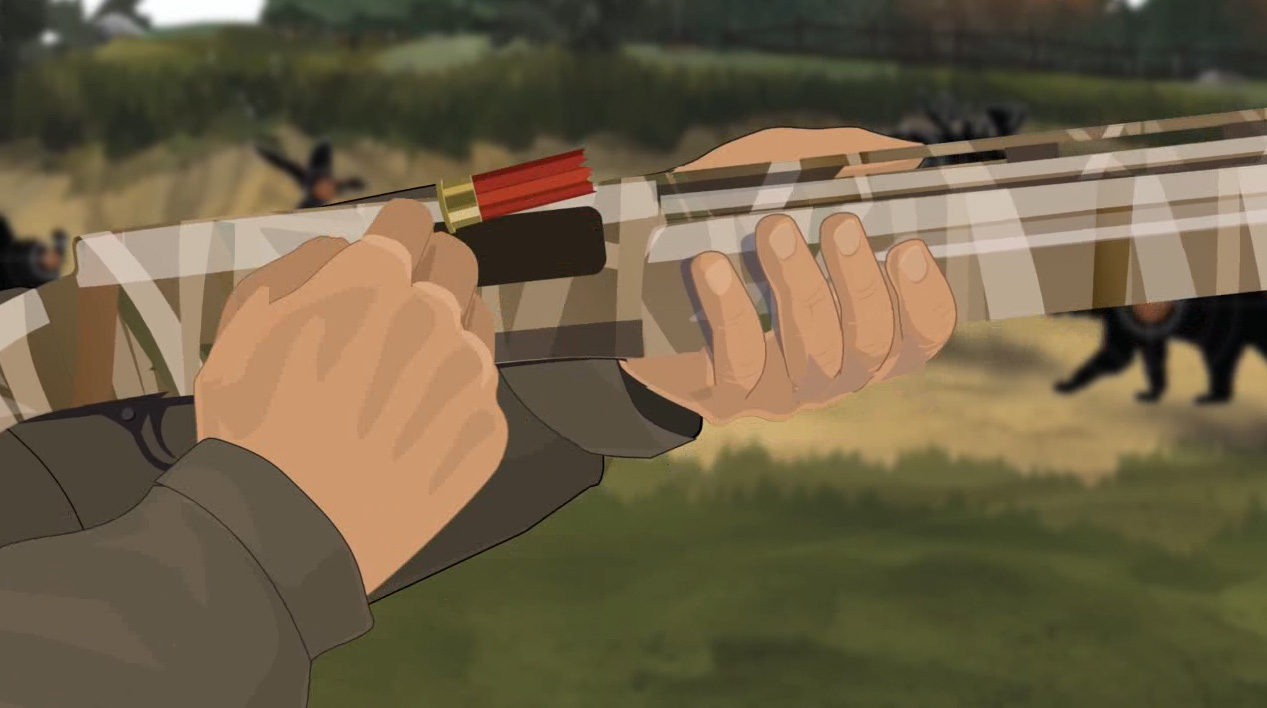 Illustration of a hunter's hands cycling the action of a semi-automatic action shotgun to remove ammunition.