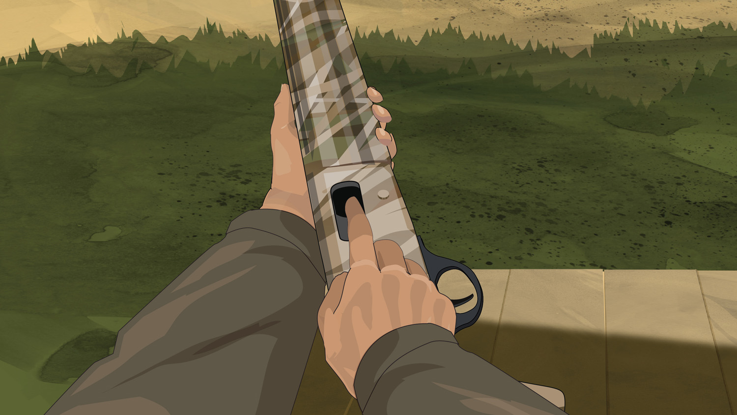 Illustration of a hunter's finger checking a semi-automatic action shotgun's feeding path for ammunition or obstructions.