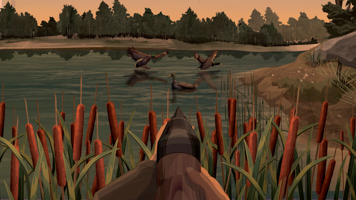 Illustration of a hunter's hands holding a forward facing firearm aimed at ducks on a body of water.