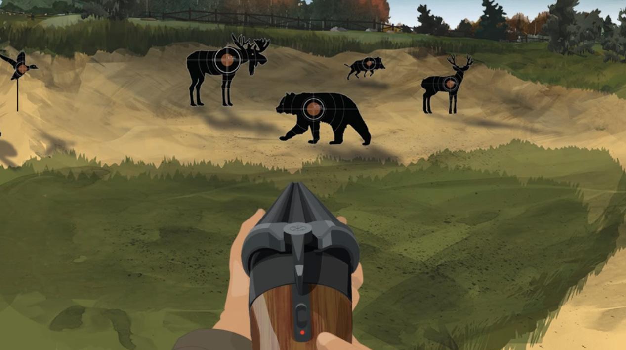 Illustration of a hunter's hands holding a forward facing break action shotgun.