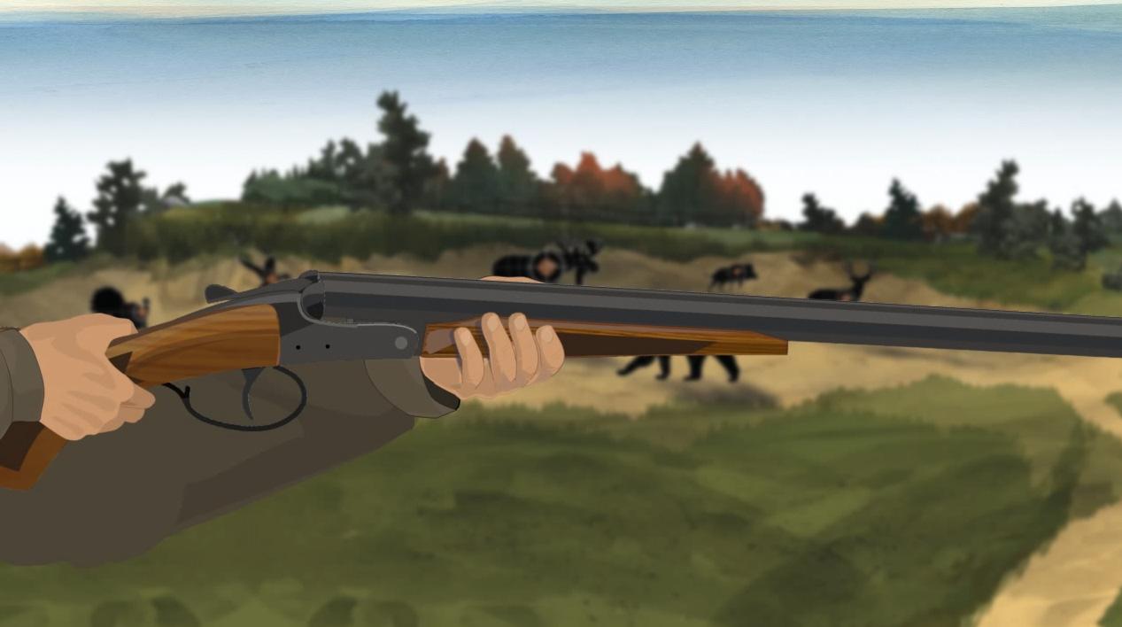 Illustration of a hunter's hands keeping off of a break action shotgun's trigger.
