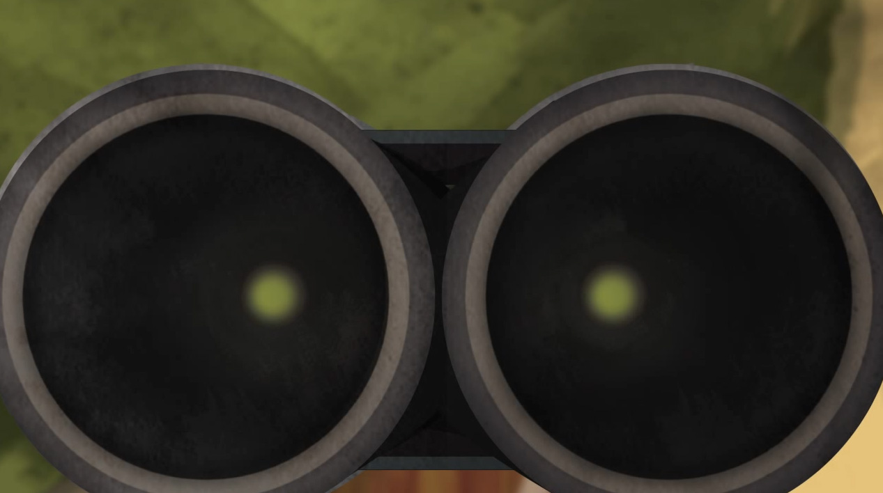 Illustration of the view down the smooth barrels of a break action shotgun.