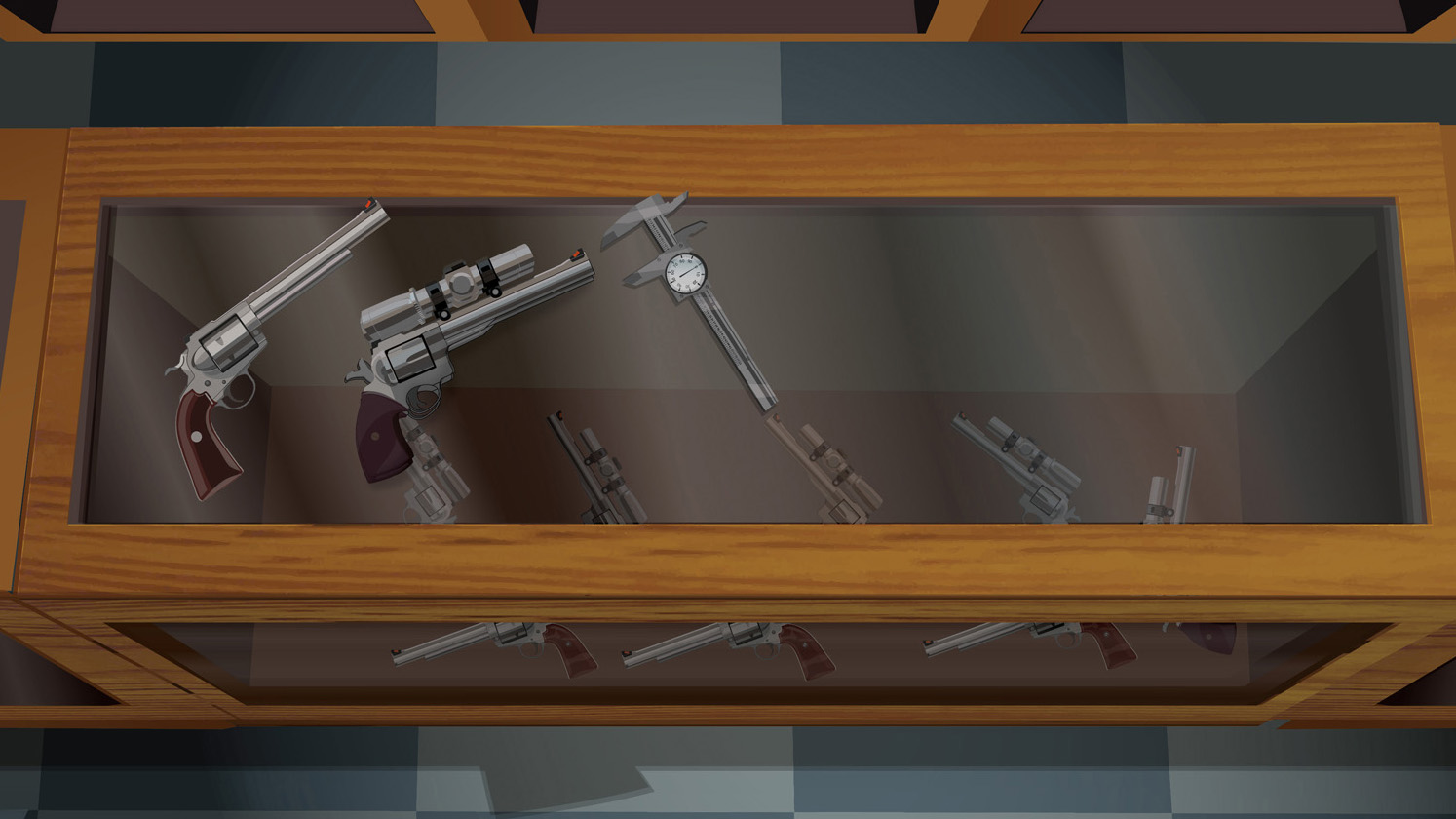 Illustration of a retail gun counter with  two handguns and a tool for measuring bore diameter on top.
