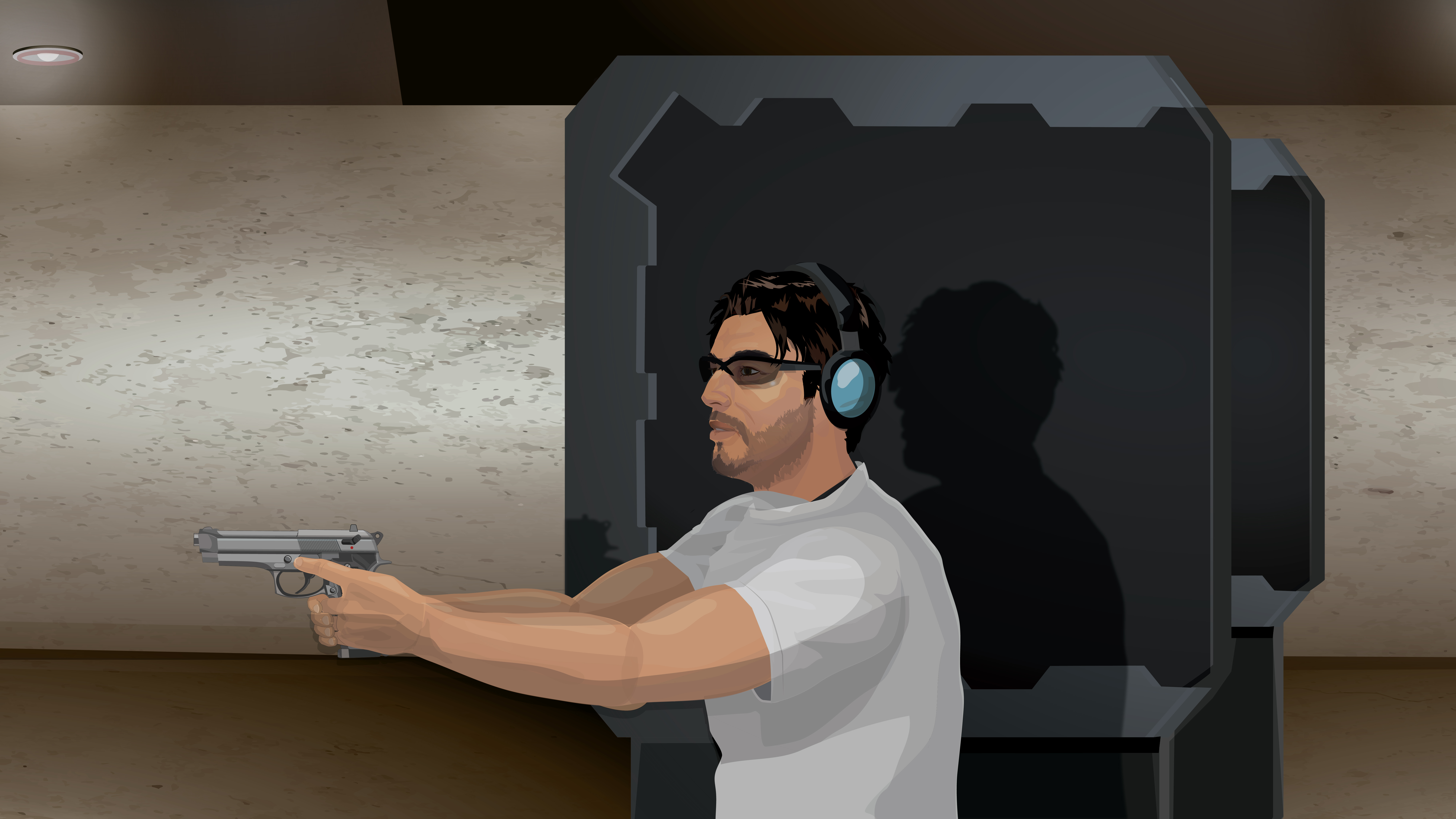 Illustration of a man in a one handed handgun stance at a shooting range.