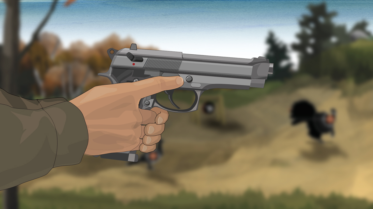 Illustration of a man's hands holding a semi-auto pistol with the muzzle pointed in a safe direction.