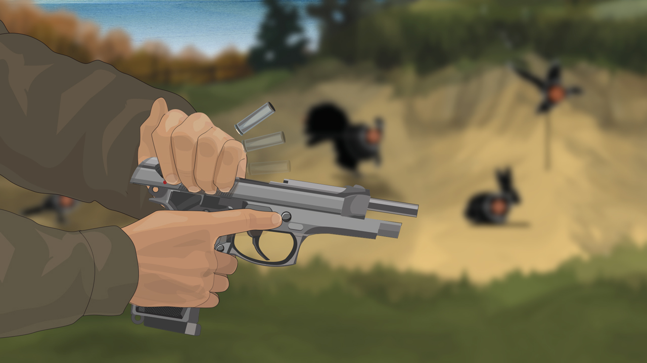 Illustration of a man's hands opening a semi-auto pistol's action and spent cartridges being ejected.