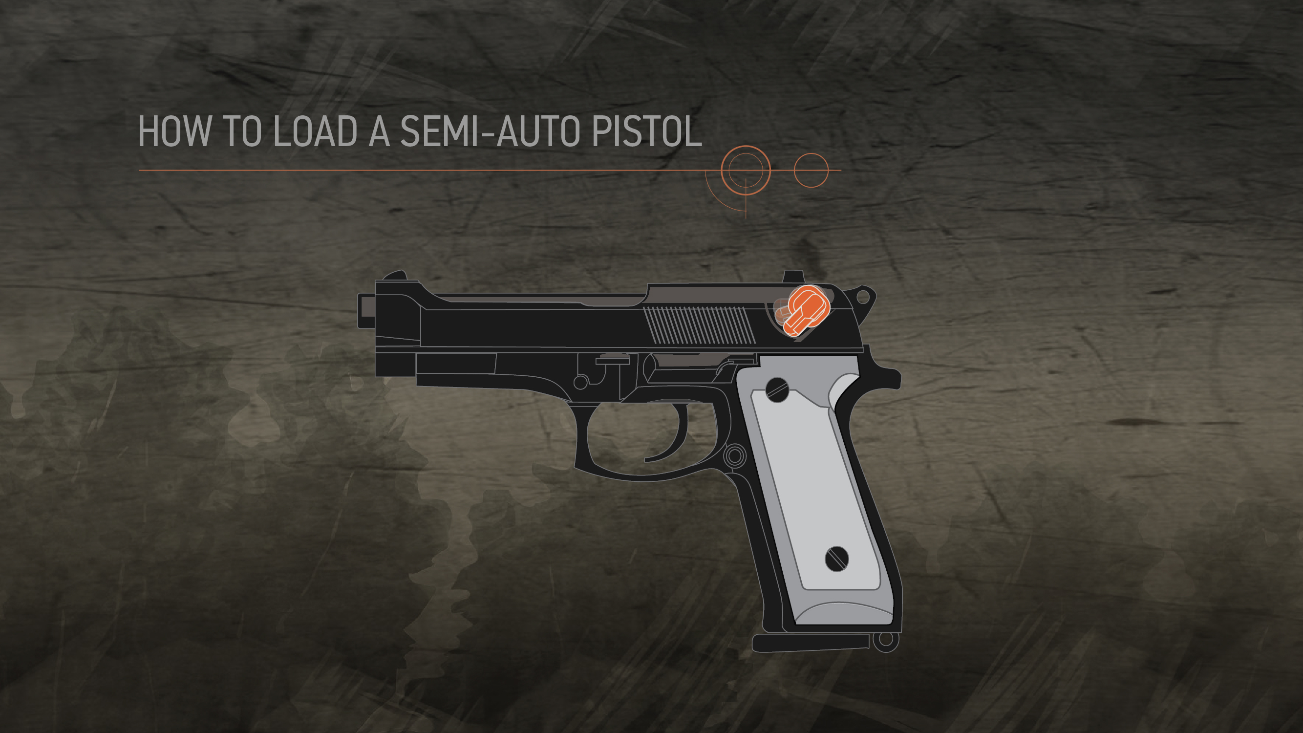Illustration of a semi-auto pistol with the safety highlighted in orange.