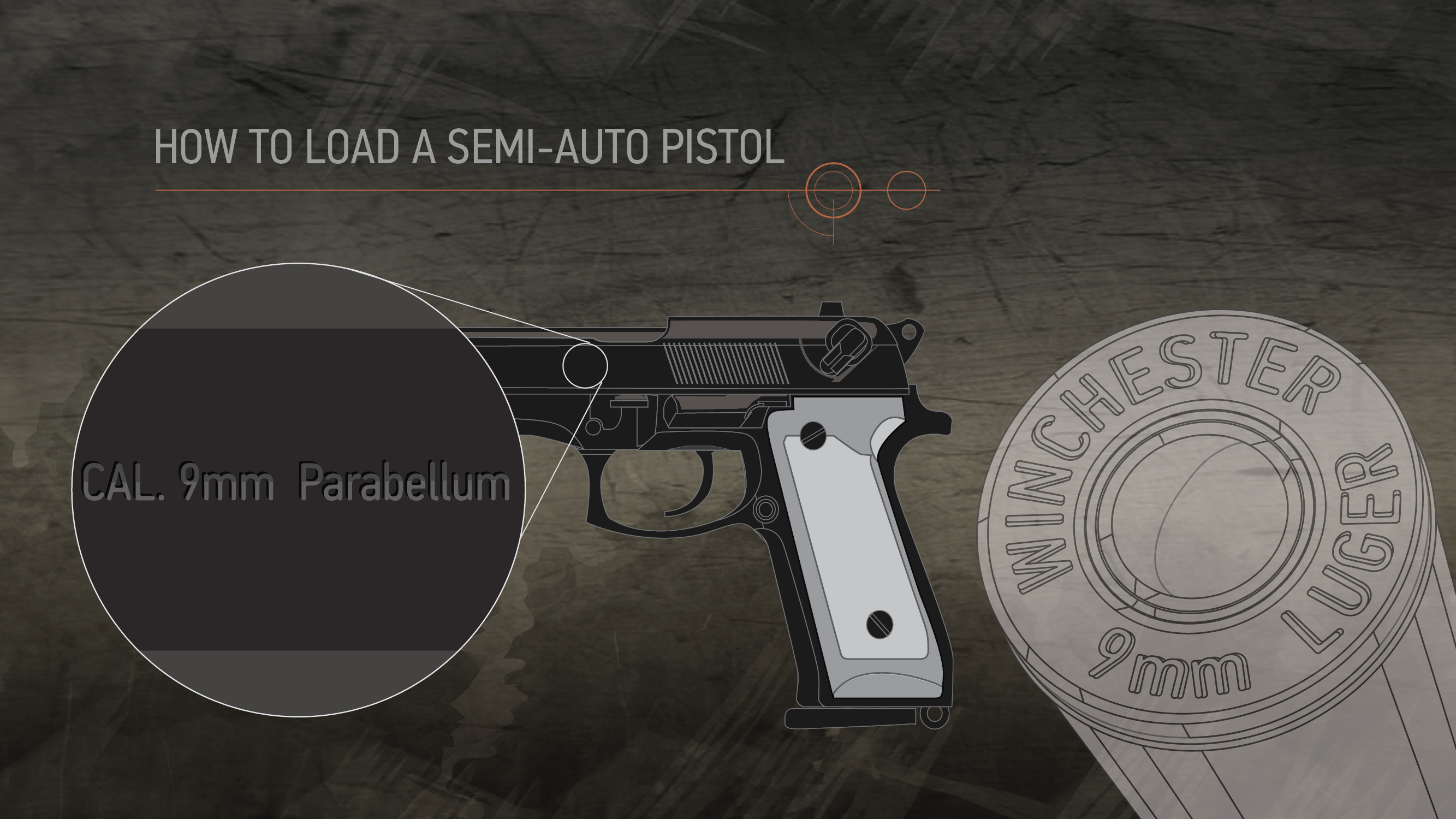 Illustration of a semi-auto pistol with a close up on its data stamp and matching cartridges head stamp.