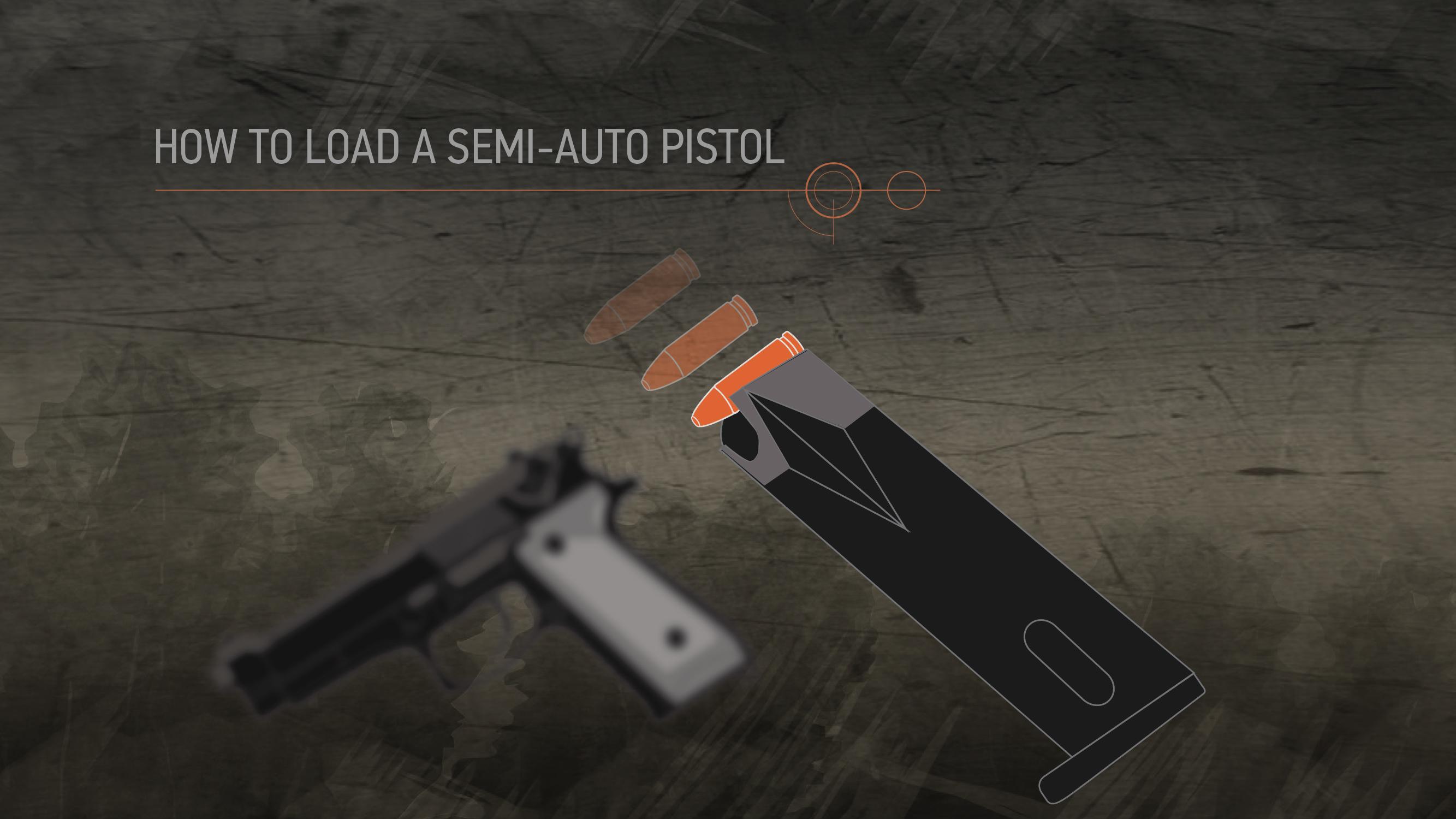 Illustration of ammunition being entered into a semi-auto pistol's magazine.