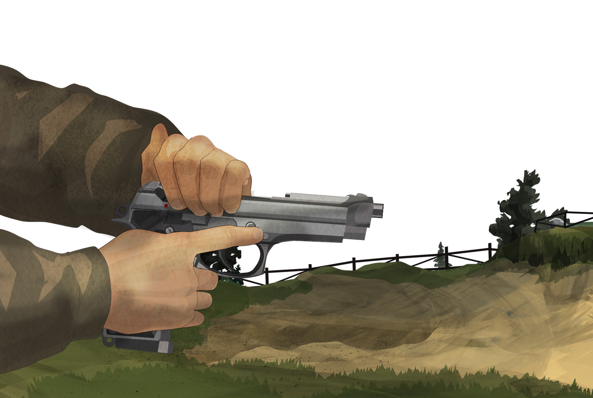Illustration of a man in a two handed handgun stance at a shooting range.