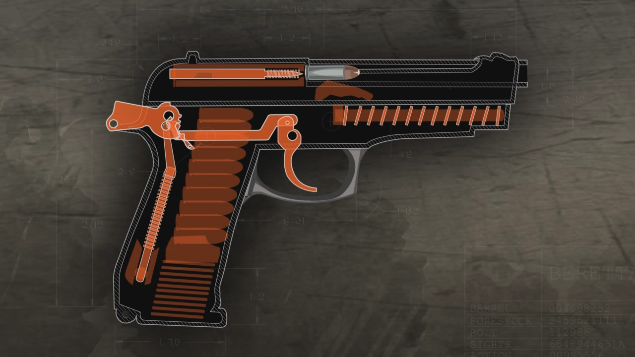 Illustration of the inside of a loaded semi-auto pistol ready to fire.