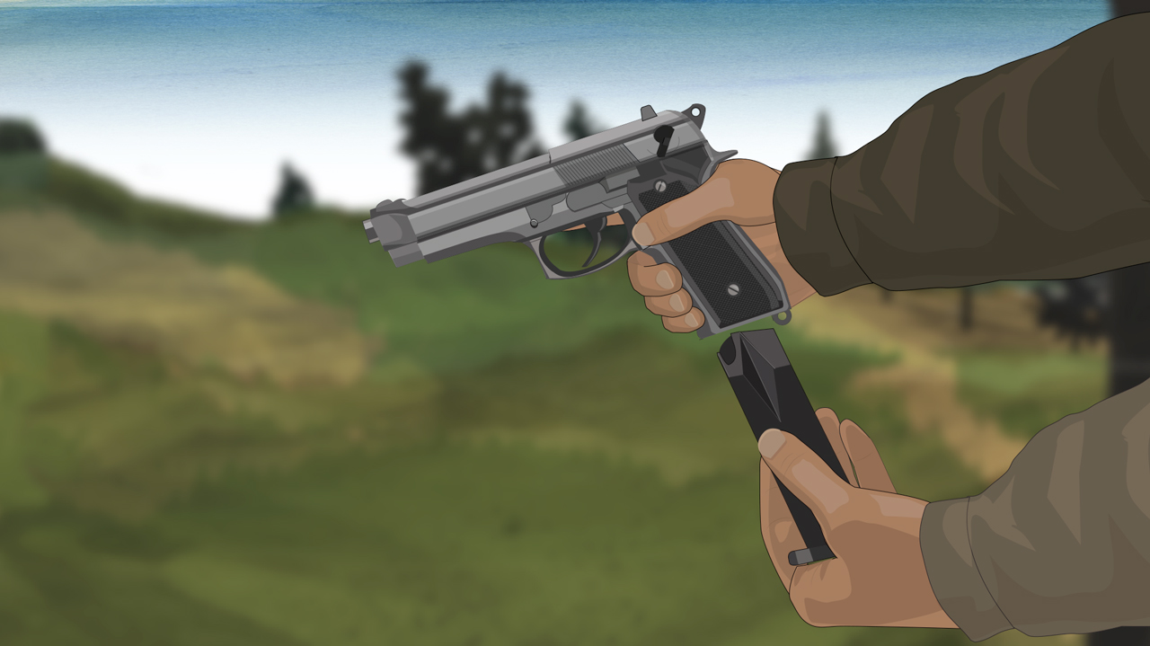 Illustration of a hunter's hands inserting a magazine into a semi-auto pistol.