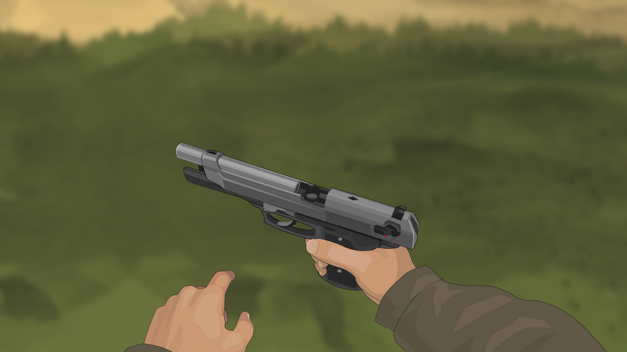 Illustration of a hunter's hands holding a semi-auto pistol with its action open.