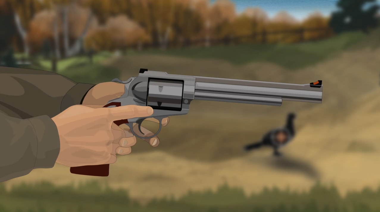 Illustration of a hunter's hands holding a revolver with the muzzle pointed in a safe direction.