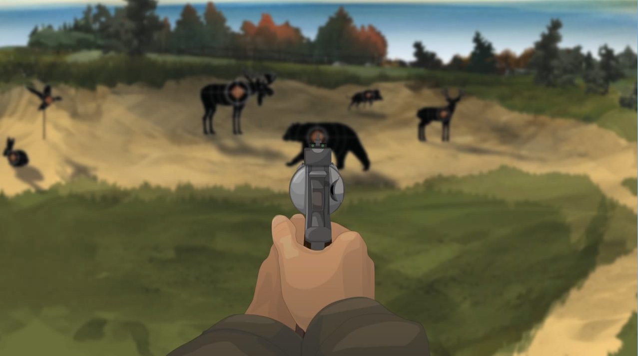 Illustration of a hunter's hands holding a forward facing revolver.