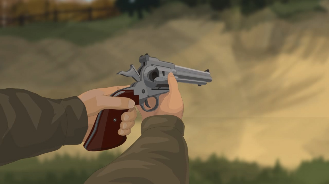 Illustration of a hunter's hands opening a revolver's loading gate and engaging the safety.
