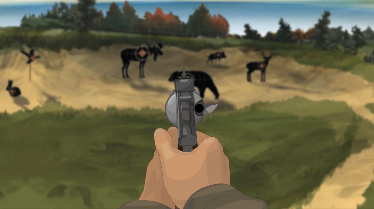 Illustration of a hunter's hands holding a forward facing revolver with the action open.