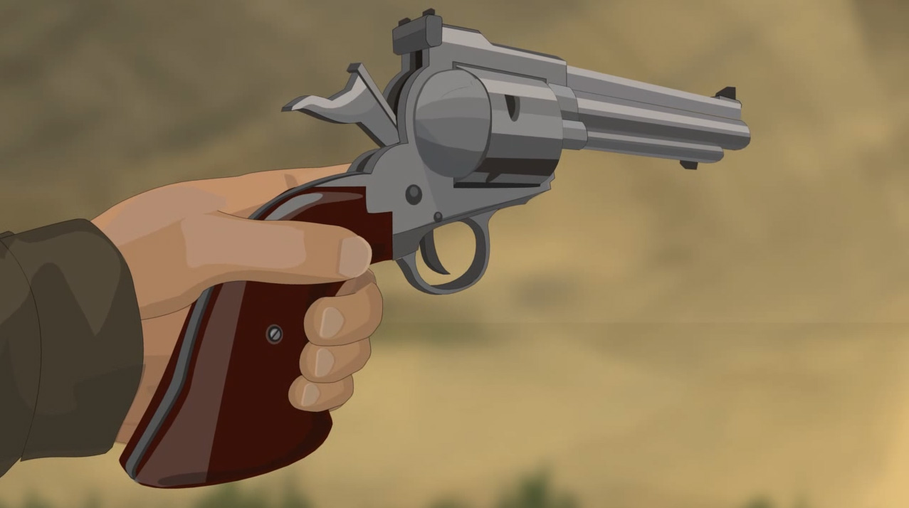 Illustration of a hunter's hand holding a revolver with the safety on.