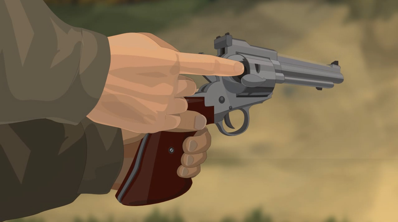 Illustration of a hunter's finger checking the chamber for ammunition and obstructions.