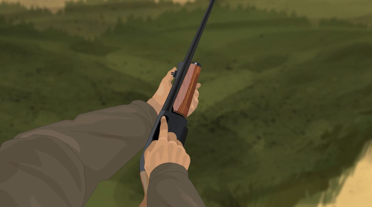 Illustration of a hunter's finger checking a pump action shotgun's chamber for any obstructions.